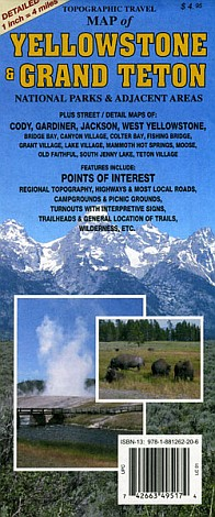 Yellowstone and Grand Teton National Park, Road and Recreation Map, Wyoming, America.