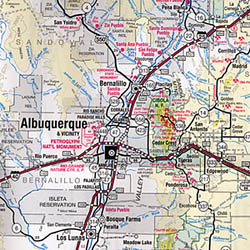 New Mexico Tourist Road and Recreation Map, America.