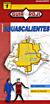 Aguascalientes State, Road and Tourist Map, Mexico.