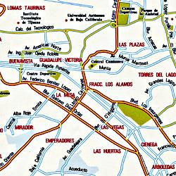 Baja California Norte, Road and Tourist Map, Mexico.