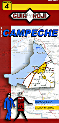 Campeche State, Road and Tourist Map, Mexico.