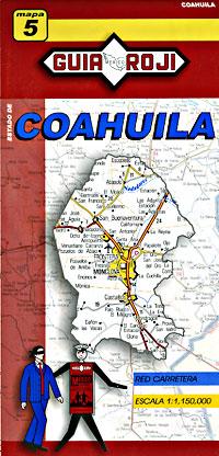 Coahuila State, Road and Tourist Map, Mexico.