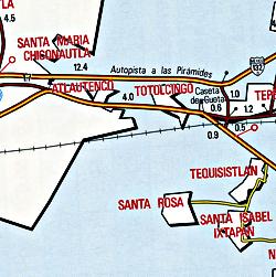 Distrito Federal, Road and Tourist Map, Mexico.