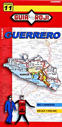 Guerrero State, Road and Tourist Map, Mexico.