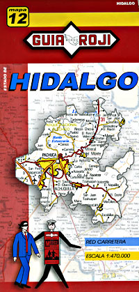 Hidalgo State, Road and Tourist Map, Mexico.