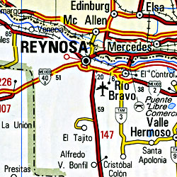 Mexico, Central, Road and Tourist Map.