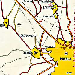 Mexico State, Road and Tourist Map, Mexico.