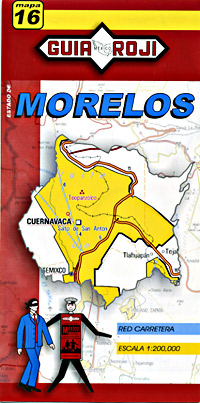 Morelos State, Road and Tourist Map, Mexico.