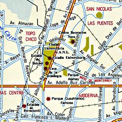 Nuevo Leon State, Road and Tourist Map, Mexico.