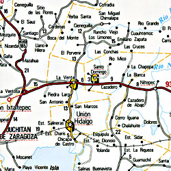 Oaxaca State, Road and Tourist Map, Mexico.