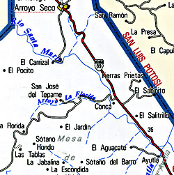 Quer?taro State, Road and Tourist Map, Mexico.