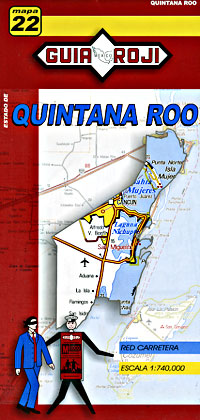 Quintana Roo State, Road and Tourist Map, Mexico.