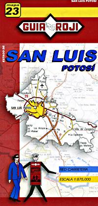 San Luis Potosi State, Road and Tourist Map, Mexico.