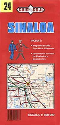 Sinaloa State, Road and Tourist Map, Mexico.