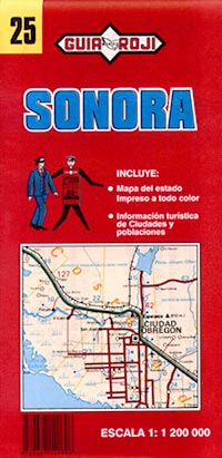 Sonora State, Road and Tourist Map, Mexico.