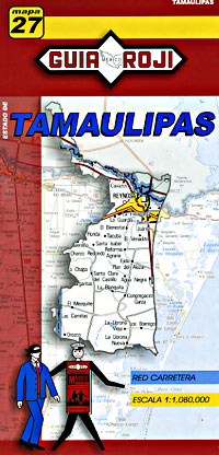 Tamaulipas State, Road and Tourist Map, Mexico.