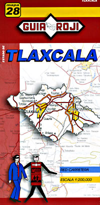 Tlaxcala State, Road and Tourist Map, Mexico.