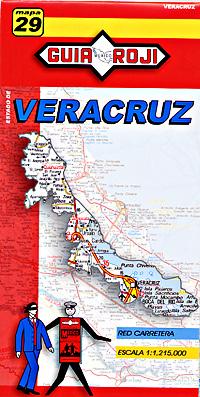 Veracruz State, Road and Tourist Map, Mexico.