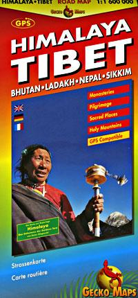 Sikkim (Tibet, Himalaya, Bhutan, Nepal, and Sikkim), Road and Shaded Relief Tourist Map.