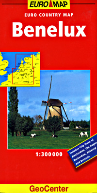 Benelux (Belgium, Netherlands, Luxembourg) Road and Tourist Map.