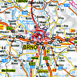 Czech Republic and Slovakia, Road and Shaded Relief Tourist Map.