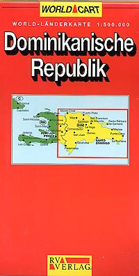 Dominican Republic Road and Shaded Relief Tourist Map, West Indies.