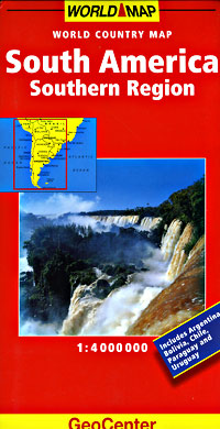 South America, SOUTHERN, Road and Tourist Map.