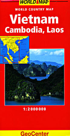 Vietnam, Laos and Cambodia Road and Shaded Relief Tourist Map.