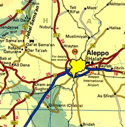 Syria, Road and Physical Tourist Map.
