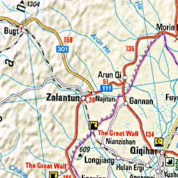 China, Japan, and Korea, Road and Shaded Relief Tourist Map.
