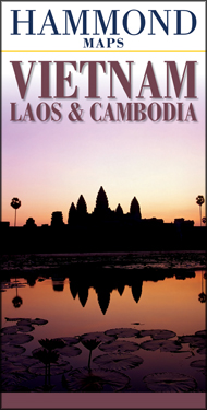 Vietnam, Laos, and Cambodia, Road and Tourist Map.