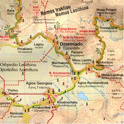 EASTERN Crete Road and Topographic Hiking and Tourist Map.