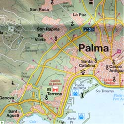 Mallorca (Balearic Isles), Road and Shaded Relief Tourist Map.