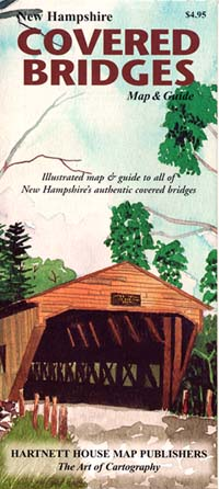 """New Hampshire """"Covered Bridges"""", Road and Tourist Map, America."""