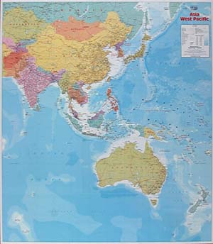 Asia and Western Pacific WALL Map.