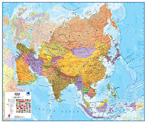 Asia Political WALL Map.