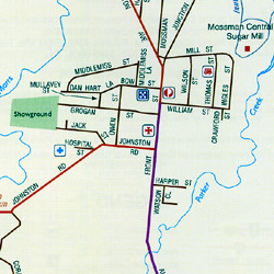 Atherton Tableland, Regional Road and Tourist Map, Queensland, Australia.