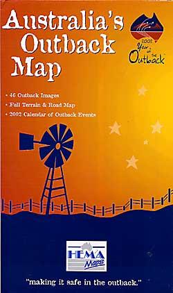 Australia Outback Full Terrain Tourist Road Map.