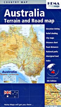 Australia Terrain Road and PHYSICAL Tourist Map.
