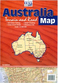"Australia Terrain ""Envelope"" Road and TOPOGRAPHIC Tourist Map."