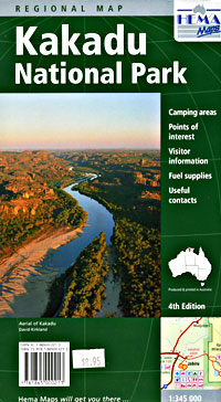Kakadu National Park Regional Road and Tourist Map, Northern Territory, Australia.