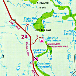 Lakefield National Park, Regional Road and Tourist Map, Queensland, Australia.
