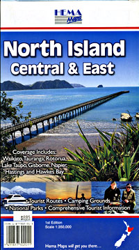 North Island, Central and East, Road and Tourist Map, New Zealand.