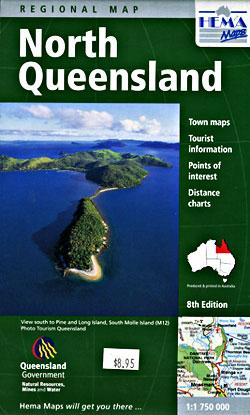 Queensland, North, Regional Road and Tourist Map, Australia.