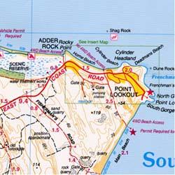 Stradbroke Island North, Road and Tourist Map, Australia.