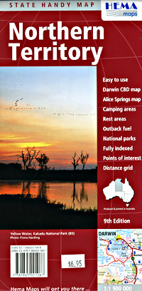 Northern Territory State, Road and Tourist Map, Deluxe, Australia.