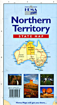 Northern Territory State, Road and Tourist Map, Australia.