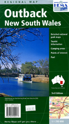 New South Wales, Outback, Regional Road and Tourist Map, Australia.