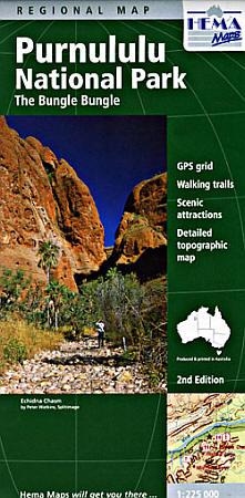 Purnululu National Park, Regional Road and Tourist Map, East Kimberley, Western Australia, Australia.