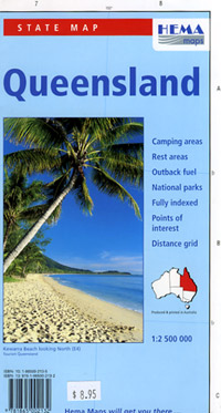 Queensland State, Road and Tourist Map, Australia.